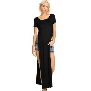 Long T-Shirt Dress w/ Split Sides Black SZ S